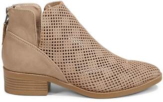 Expression Perforated Faux Suede Ankle Booties