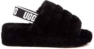 UGG Black Leather Fluff Yeah Logo Slide