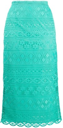 VIVETTA Embroidered Midi Skirt