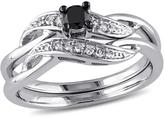 Ice Julie Leah 1/4 CT TW Black Diamond Sterling Silver Bridal Set