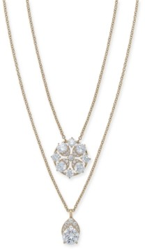 "Eliot Danori Cubic Zirconia Convertible Layered Pendant Necklace, 16"" + 1"" extender, Created for Macy's"