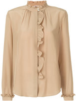 RED Valentino frilled detailing semi-sheer shirt