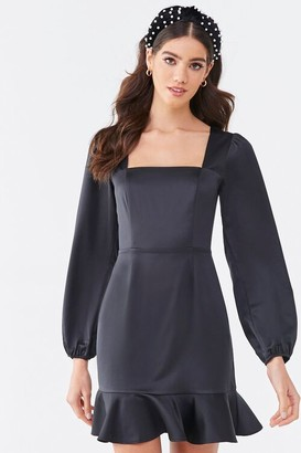 Forever 21 Flounce Satin Mini Dress