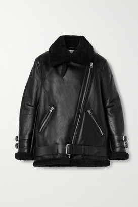 Acne Studios Leather-trimmed Shearling Jacket - Black
