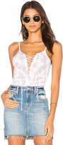 Chaser Vintage Rib Lace Up Cami in White. - size L (also in M,S,XS)