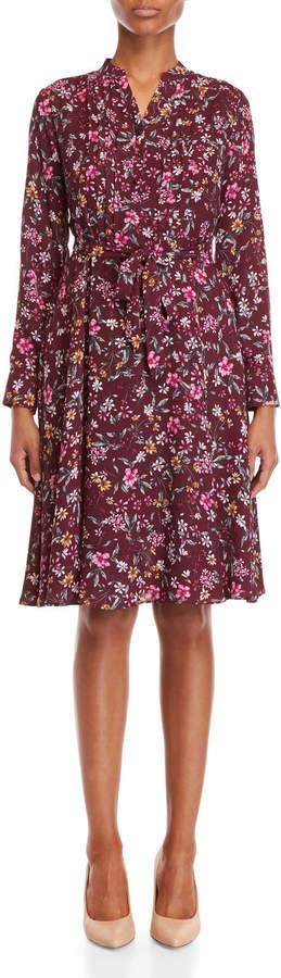 Nanette Lepore Nanette Floral Pleated Bib Belted Dress