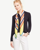 Ann Taylor Striped Colorblock Silk Little Scarf