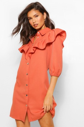 boohoo Ruffle Sleeve Collared Shift Dress