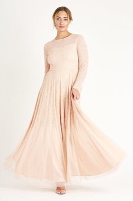 Lace & Beads long sleeve hand embellished mesh maxi dress