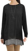 uxcell® Women Long Sleeves Chiffon Panel Stripes Prints Tunic Tee M