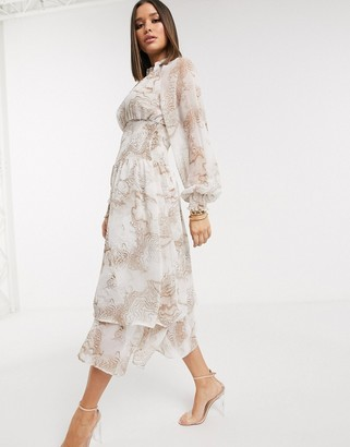 NA-KD Na Kd marbled print smocked midi dress in grey