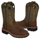 John Deere Kids' Square Toe Pull On Cowboy Boot Grade School