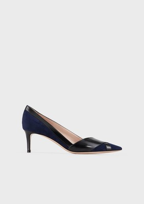 Giorgio Armani Leather And Suede Court Shoes With Interweaving And Asymmetric Top Line