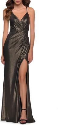 La Femme Spaghetti Strap Metallic Jersey Gown