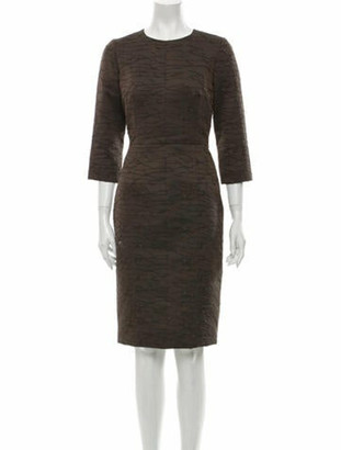 J. Mendel Crew Neck Knee-Length Dress Brown