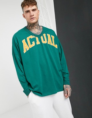 ASOS Actual extreme oversized deep V long sleeve t-shirt with logo print in green