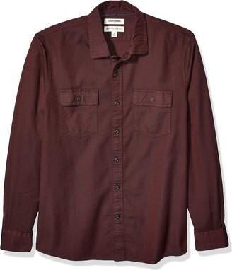 Goodthreads Men's Standard-fit Long-sleeve Plaid Twill Casual Shirt Blue (Rust Navy Rus) Medium