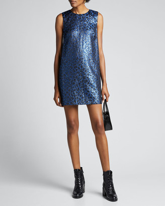 Tanya Taylor Tracy Metallic Leopard Shift Dress