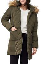 Precis Petite Petite Faux Fur-Trimmed Quilted Coat