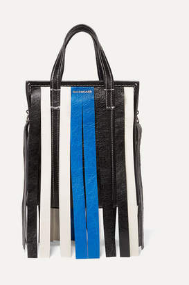 Balenciaga Bazar Xs Fringed Striped Textured-leather Tote - Blue