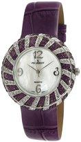 Peugeot Women's Purple Swarovski Crystal Round Case Purple Strap Watch