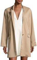 Halston Long Slim Single-Breasted Jacket, Camel
