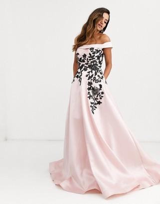 Jovani floral detail bardot prom dress