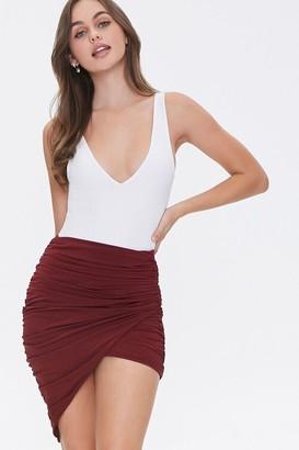 Forever 21 Ruched Tulip-Hem Mini Skirt