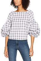 New Look Women's Soft Check Extreme Slv Shell Blouse