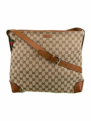 Gucci Large Original GG Canvas Messenger Bag Brown