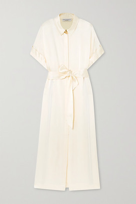 MARTIN MARTIN Constance Belted Satin Maxi Shirt Dress - Ivory