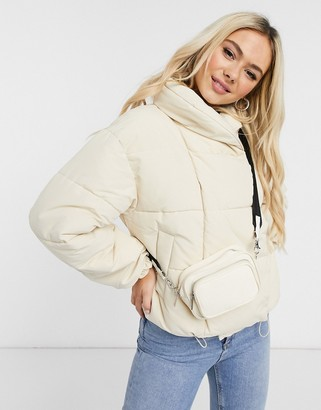 Pieces padded jacket in cream