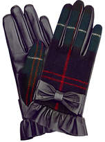 Hobbs Una Leather Bow Gloves, Green/Multi