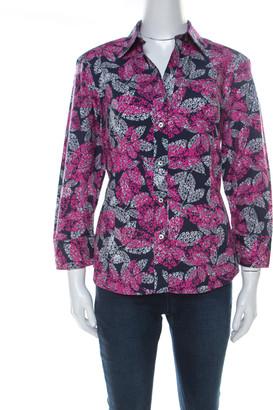Carolina Herrera Navy Blue and Pink Cotton Leaf Print Shirt L