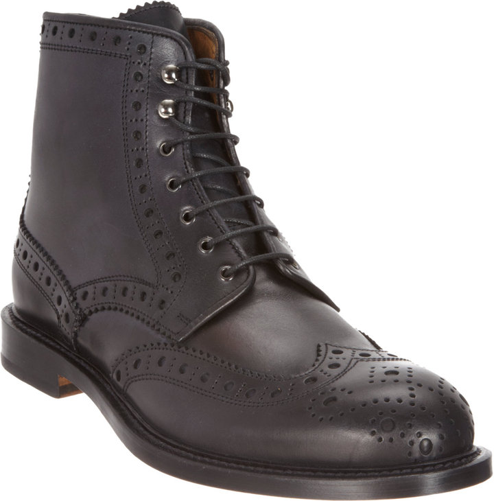Barneys New York Wingtip Lace-Up Boots