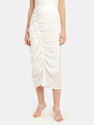 The Line By K Leome Ruched Midi Skirt