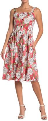 Floral Stripe Button Front Dress