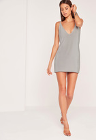 Missguided Strappy Back Slinky Shift Dress Silver