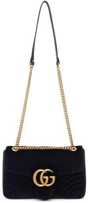 Gucci Black Velvet Medium GG Marmont 2.0 Bag