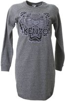 Kenzo Grey Cotton Tiger Sweatshirt Dress