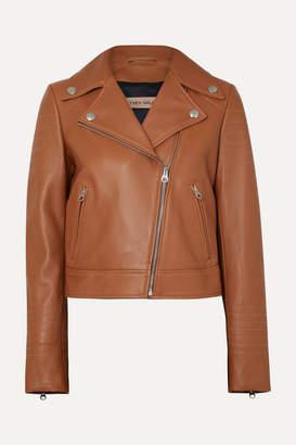 Yves Salomon Leather Biker Jacket - Camel