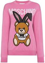 Moschino Wool crew neck sweater with bear logo