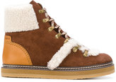 See by Chloe shearling trim ankle boots - women - Leather/Suede/Wool/rubber - 37