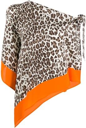 P.A.R.O.S.H. Leopard Print Asymmetric Blouse