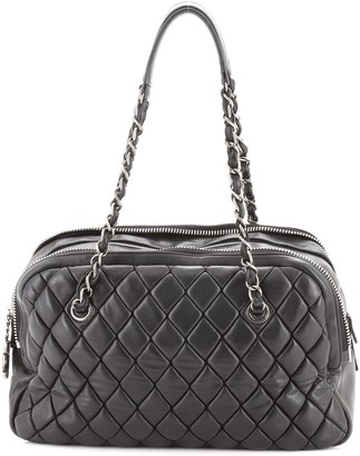Chanel New Bubble Expandable Zip Bowling Bag Quilted Calfskin Large
