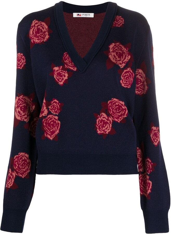 Ports 1961 Rose-Jacquard V-Neck Sweater