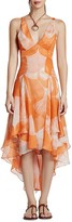 Halston Printed Chiffon High/Low Dress