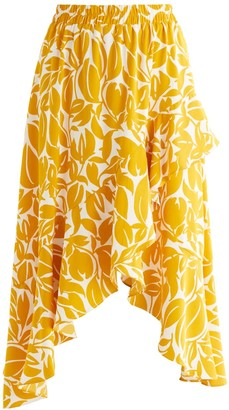 Paisie Leigh Print Frill Skirt In Yellow & White