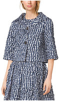 Michael Kors Gingham Crushed-Taffeta Bolero