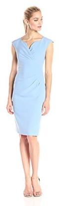 Adrianna Papell Women's Petite Pleated Surplus V Neck Sheath Dress